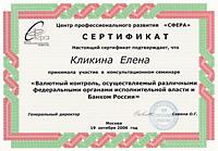 Сертификат об участии в консультационном семинаре по валютному контролю